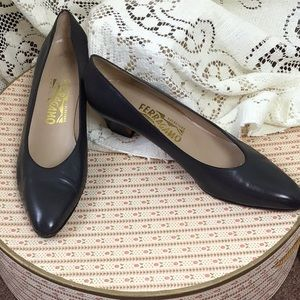 Vintage Ferragamo Dark Gray Heels